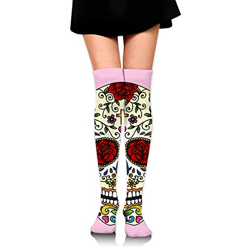 HRTSHRTE Halloween Sugar Skull Pink Ankle Stockings Over The Knee Sexy Womens Sports Athletic Soccer Socks (Für Skull Halloween Sugar)