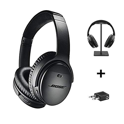 Bose QuietComfort 35 Series II Wireless Headphones, Black, Noise Cancelling with Headset Stand + Airplane Flight Adapter