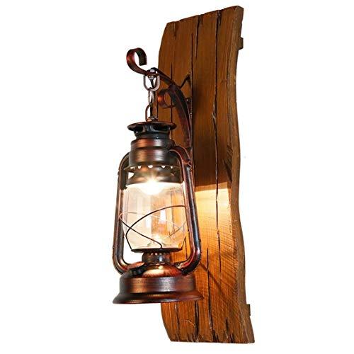 Wasserdichte Wandlampe für den Außenbereich ZS, Amerikanische Wandlampe, ländliches festes Holz, Eisenkunst, Petroleumlampe, Laterne, kreative hölzerne Lampe, antike mediterrane Wandlampe