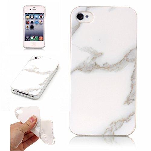 Roreikes Apple iPhone 4S 4 Hülle,Schale Etui Protective Case Cover TPU Silicone Bumper IMD Technologie Marmor Design für Apple iPhone 4 4S 3#