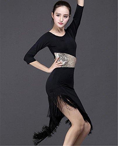 robe à manches longues frangées professionnelle danse latine / danse de femmes Black