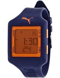 Puma Slide L - Reloj digital con correa de poliuretano unisex, color azul y naranja/LCD