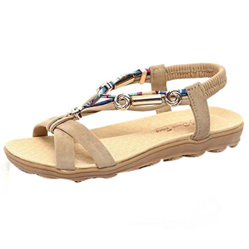 ASHOP Sandalias Mujer Bohemia Las Bailarinas Planas Zapatos de Cordones Verano Peep-Toe Moda Zapatillas De Playa Sandalias y Chanclas de Cuero Cómodo Y Elegante (38 EU, Beige)