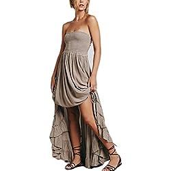 Mujer Vestidos Vestidos Largos De Verano Sin Mangas Hombro Descubierto Espalda Descubierta A-Line Swing Moda Casual Dulce Lindo Chic Hippie Boho Vestido Verano Vestido Playa
