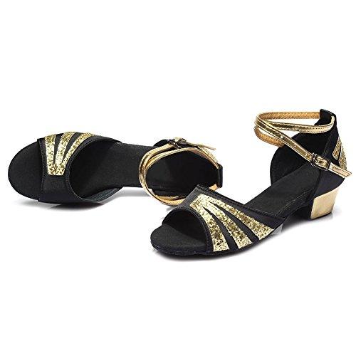 HIPPOSEUS Donna & Bambine Ballroom Scarpe da ballo/sala da ballo scarpe/Scarpe da ballo latino standard di Raso,Modello-IT209 Nero