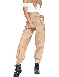 Pantalones Harem de Cintura Alta Hip Hop para Mujer Pantalones Largos  Sueltos Joggers con Cadena 23893ba5eb1