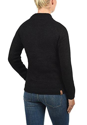BLEND SHE Khola Damen Strickpullover Turtleneck Feinstrick Pulli mit Stehkragen aus hochwertigem und weichem Material Meliert Black