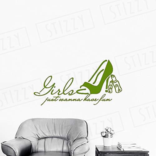 xingbuxin Adesivo Murale Citazione di Moda Le Ragazze vogliono Solo divertirsi Adesivo da Parete in Vinile Scarpa con Tacco Alto Rossetto Modello Salone di Bellezza 6 110x57cm