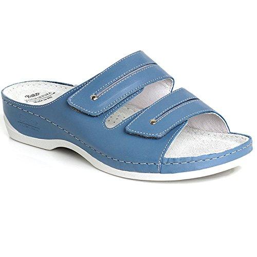 Batz LIA Sandales, Mules en Cuir de Qualité Supérieure Femme Bleu