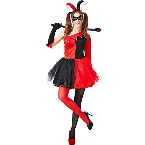 ZQ Frauen Lustige Cosplay Kostüm Erwachsene Clown Zirkus Karneval Halloween Joker Kostüm Performance Kostüm,M