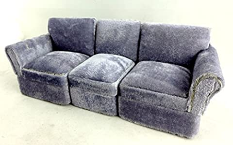 Dolls House Miniature Living Room Furniture Sectional 3 Piece Grey
