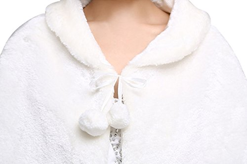 Insun Damen Bolerojäckchen Braut Jacke Bolero Schnüren Sie sich oben warme Pelzbraut Pashmina Schals Gebrochenes Weiß
