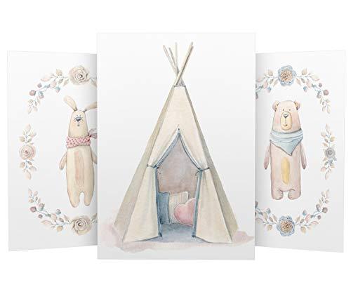 Wandbilder 3er Set für Baby & Kinderzimmer Deko Poster Hase Tipi Bär   Kunstdruck DIN A4 ohne Rahmen und Dekoration (Hase Indianerzelt Tipi Bär)