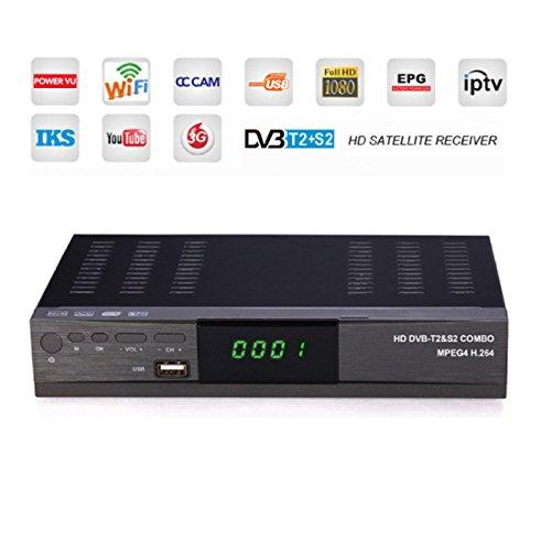 4K HD Digital Set-Top-Box T2 + S2COMBO WIFI Netzwerk-TV-Box Composite-Maschine Multifunktions- Media-Player,Black