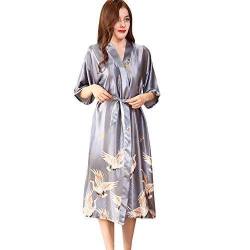 Yvelands Damen Nachtwäsche Kleid Gown Dessous Frauen gedruckt Robe Tuch Babydoll Nachthemd Nachtwäsche Kimono Print Bademantel (XL,Grau)