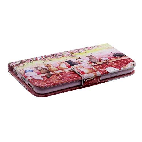 iPhone 6S Plus Portefeuille Bourse Rabat Coque Case de Protection, Original Créatif Peinture Serie ( Rouge Renard ) Souple PU Cuir Carte Étui de Protection pour Apple iPhone 6 Plus 5.5 inch rose