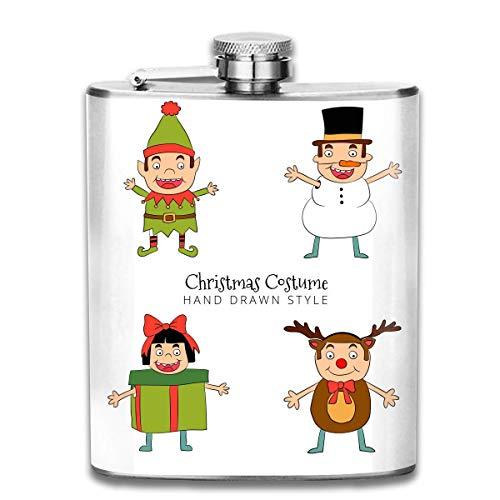 Zcfhike 7 oz Edelstahl Flasche Cartoon niedlich Weihnachten kostüm in Hand gezeichnet Stil Stil tragbare Edelstahl flachmann Whisky Flasche für männer und Frauen 7 - Flasche Whiskey Kostüm