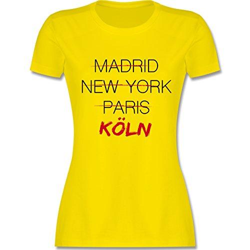 Shirtracer Städte - Weltstadt Köln - Damen T-Shirt Rundhals Lemon Gelb