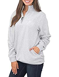 Asvivid Women Casual Oversized Pocket Style Quarter Zip Sweatshirt Casual Long Sleeve Stand Collar Neck Pullover Top