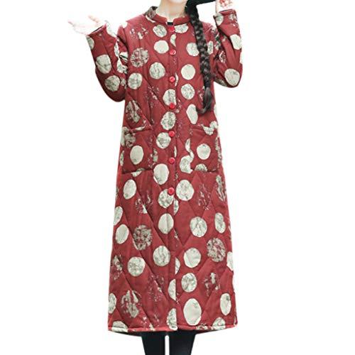 i-uend 2019 Damen Mantel - Leinen Dot Print Knöpfe Taschen Lässige Sweatshirt Langarm Lose Blazer Jacke ()