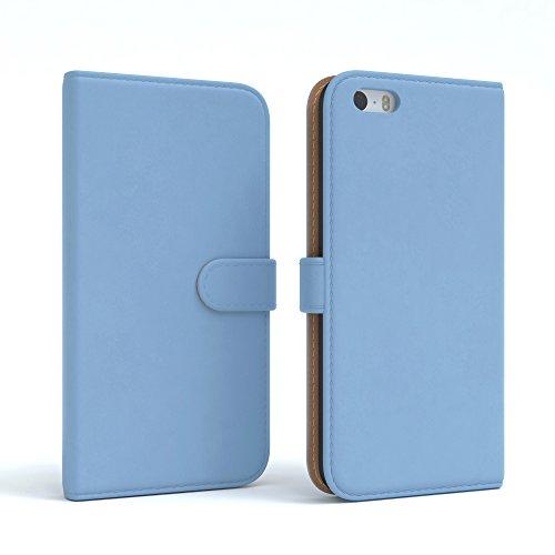 Apple iPhone SE / 5S / 5 Tasche, EAZY CASE Book-Style Case Metallic, Premium Handyhülle mit Kartenfach, Schutzhülle Geldbeutel mit Standfunktion, Wallet Case in Silber Metallic Hellblau - Uni