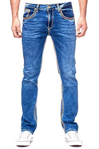 Rusty Neal Herren Jeans Hose Regular Fit Blue Used Blau Stretch Dicke Naht Freizeit J100, Hosengröße:34/34