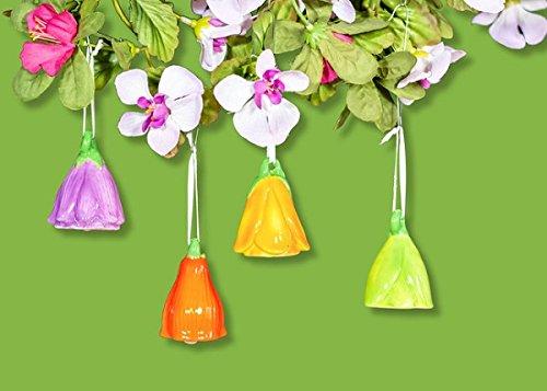 Blütenglocke aus Dolomite zum Hängen als Dekoration für Frühling und Ostern, 4 Stück