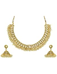 BEAUTIFUL ANTIQUE GOLDEN PEARLS NECKLACE SET FROM HYDERABAD JEWELS ANGNS594