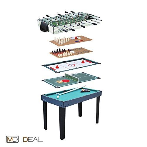 Multigame Spieletisch 10 in 1, inkl. komplettem Zubehör Tischfußball Kicker Billard - Shuffleboard-pins