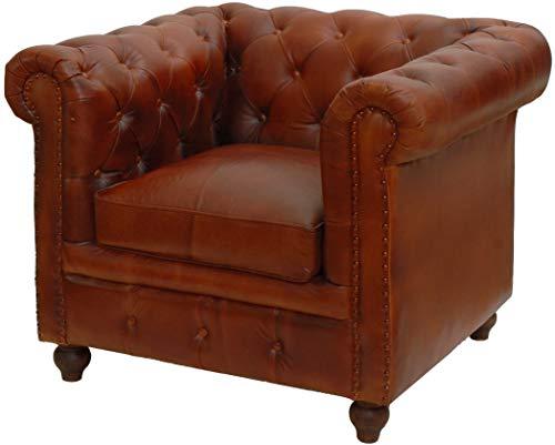 korb.outlet Chesterfield Ledersessel Echtleder Polstersessel Leder Wohnzimmer Sessel Antik Vintage Look (Rot-Braun)