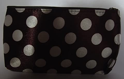 Brown with White Polka Dots Make Up Bag (or Toiletry bag) with Zip Fastener, Length 7.5 x 4.5 Height inches (18.75 x 11.25 cm) by OFA Products