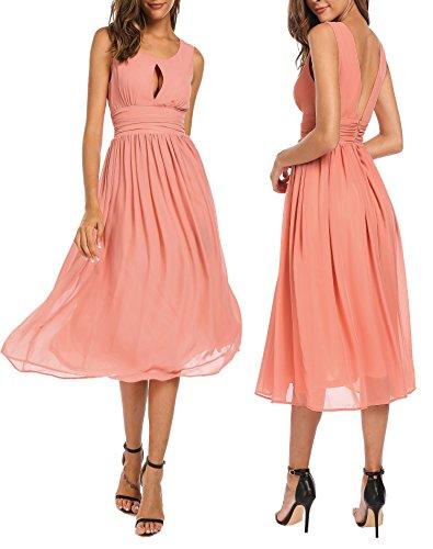 Meaneor Damen Chiffon Rückenfrei A-Linie Brautjungfer Kleid Elegant Ärmellos Träger Ballkleid Sexy Partykleid Wadenlang Cocktailkleid für Sommer