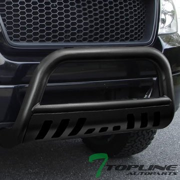 Topline Autopart Hammered Black HD Heavyduty Bull Bar Brush Push Front Bumper Grill Grille Guard Protector Tubular Tube 97-04 Ford F150 F250 Lightduty 2WD 4WD SuperCrew Cab Heritage Expefition by