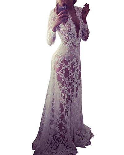 Women Deep V-neck Long-sleeved Lace Perspective Lingerie Bridesmaid Long Gown Tight-fitting Tail Dress White XL