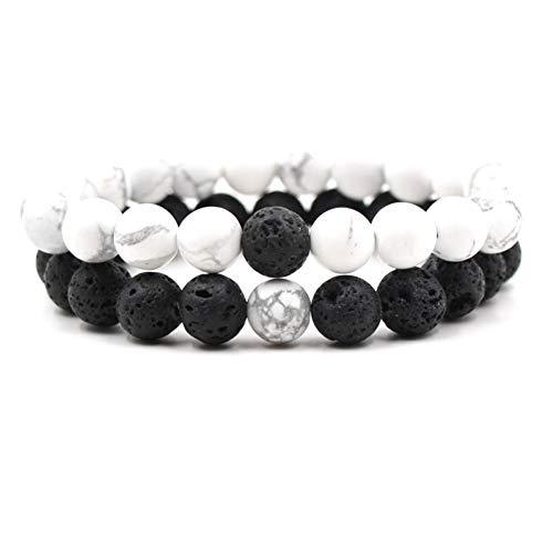 MHOOOA 10mm türkis schwarz Lava Stein perlen DIY aromatherapie ätherisches öl diffusor Armband männer Frauen Bester Freund schmuck (Aromatherapie-stein-diffusor)
