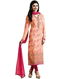 A And V Fashion Women's Pink Georgette Embroidered Straight Suit