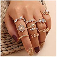 Drecode Boho Ring Set Gold Leaf Star Joint Knuckle Flower Crystal Hand Rings Rhinestone Stackable Midi Hand Je