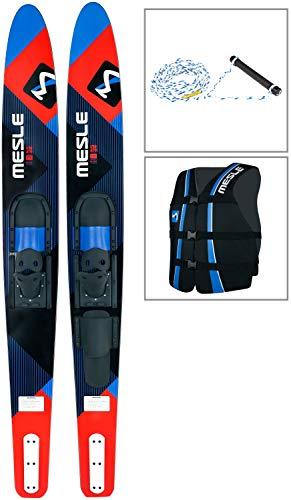 MESLE Comboski Package Strato 170 cm mit Weste Sportsman + Leine Set, Wasser-Ski bis 120 kg Körpergewicht, für Anfänger und Fortgeschrittene, Farbe blau, Lime, rot, Farbe:rot