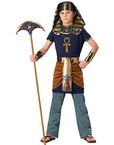 KULTFAKTOR GmbH Deluxe Kinder-Kostüm Ägyptischer Pharao Dunkelblau-Gold 116/122 (6-7 - Deluxe Gold Kind Kostüm