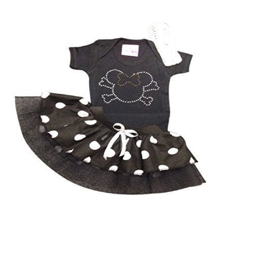 Black Minnie Mouse Sparkle Baby Grow T-Shirt With Black & White Polka Dot Princess Fairy Tutu Set (1-2 yrs)