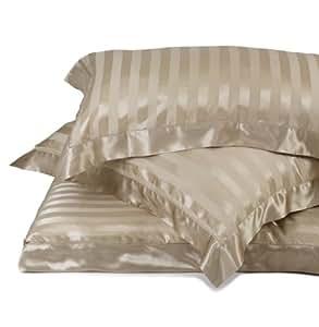 URBANARA Florenz Pure Mulberry Silk Sateen Striped Pillowcase - Cappuccino - 80 x 80 cm