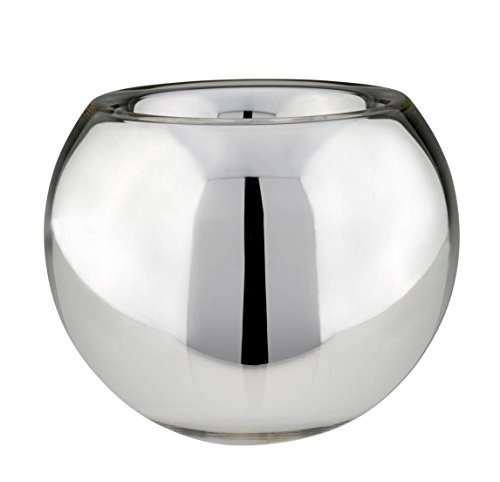 Silver Glass Vase Ball Shape M/h D 18 cm)
