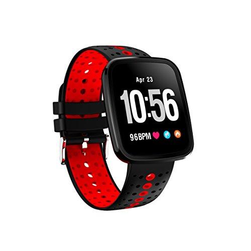 FromPRO V6HD-Bildschirm, Fitness Tracker, Smartwatch OLED Herzfrequenz Blutdruckmessgerät Smart Watch Sport Smart Watch Armband, rot