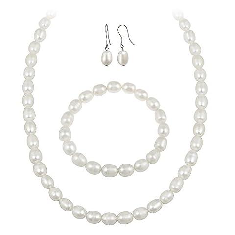 Sterling Silver Freshwater Cultured Pearl Jewelry Necklace, Bracelet Earring