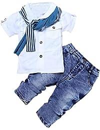 QUICKLYLY Conjuntos Peleles Ropa Traje Bebe Niños,1Set Kids Baby Boys Camiseta De Manga Corta Tops + Bufanda + Pantalones Ropa Trajes