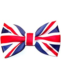 UNION JACK BOW TIE PRE TIED LUXURY AND ADJUSTABLE SILKY SATIN NEW