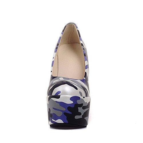 AllhqFashion Femme Rond Tire Pu Cuir Couleurs Mélangées à Talon Haut Chaussures Légeres Bleu