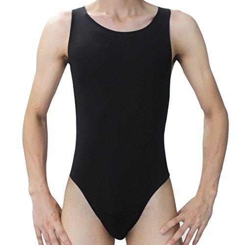 iiniim Herren Body Bodysuit Unterhemd Stringbody Overall Unterwäsche Lingerie Nachtwäsche Schwarz Einheitsgröße