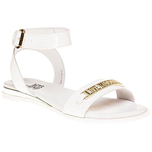Love Moschino Metal Logo Flat Femme Sandales Blanc Blanc