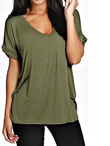Womens Oversize Fit V Neck Top Ladies Baggy Plus Size Batwing Casual T Shirt sizes 8-24 (M/L UK 12-14, Khaki Green)